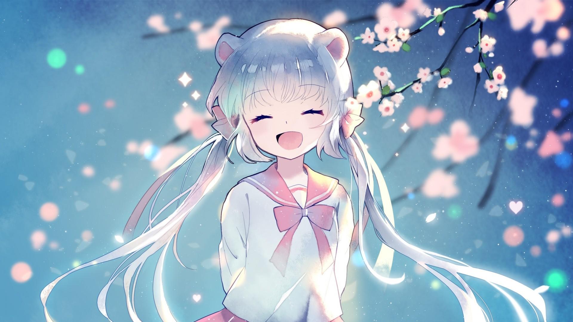 Anime Girl Happy Face Twintails Aqua Hair Cherry   Anime Girl 1920x1080