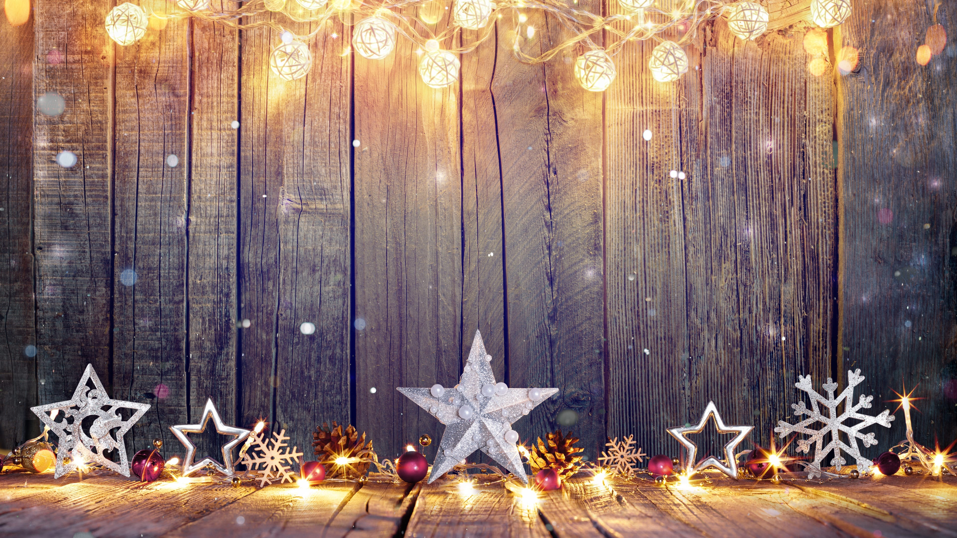 Christmas Silver Stars Decorations 3075 Wallpapers and Stock 3840x2160