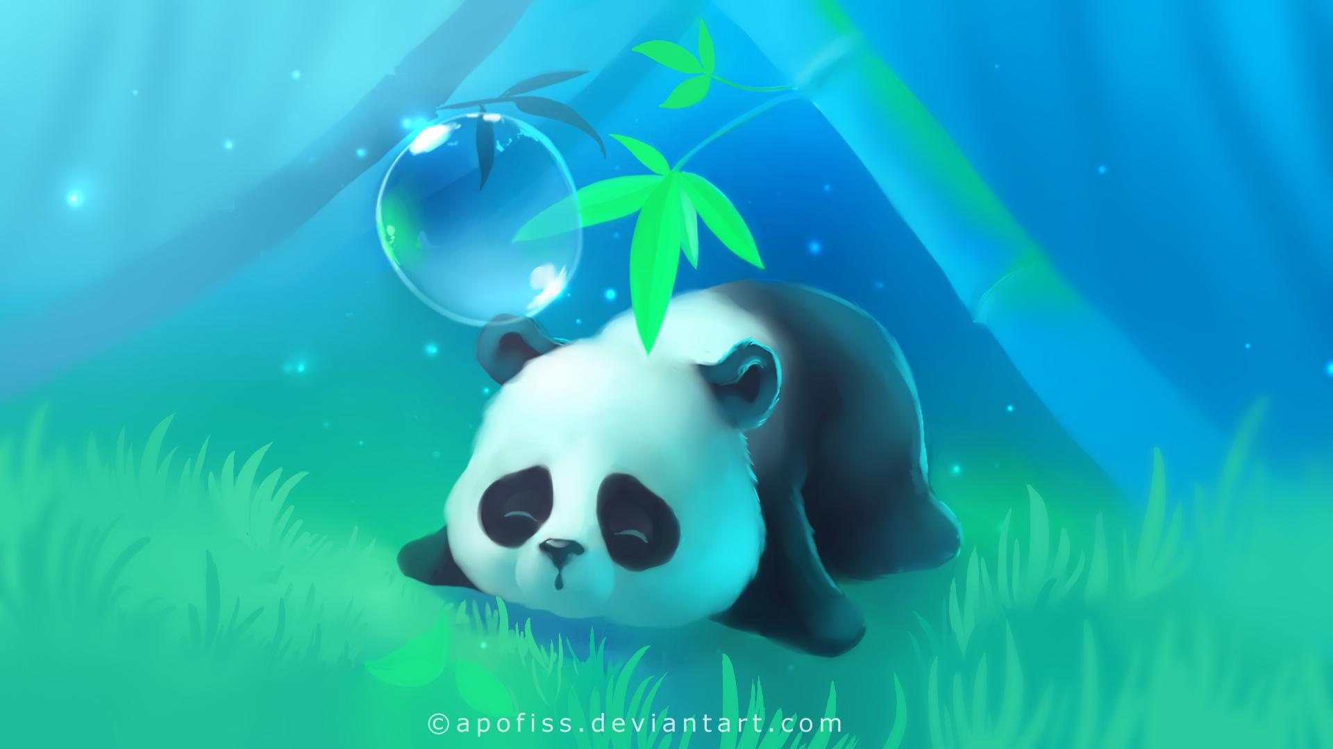 Wallpaper apofiss panda lay sleeping bubble tree 1920x1080