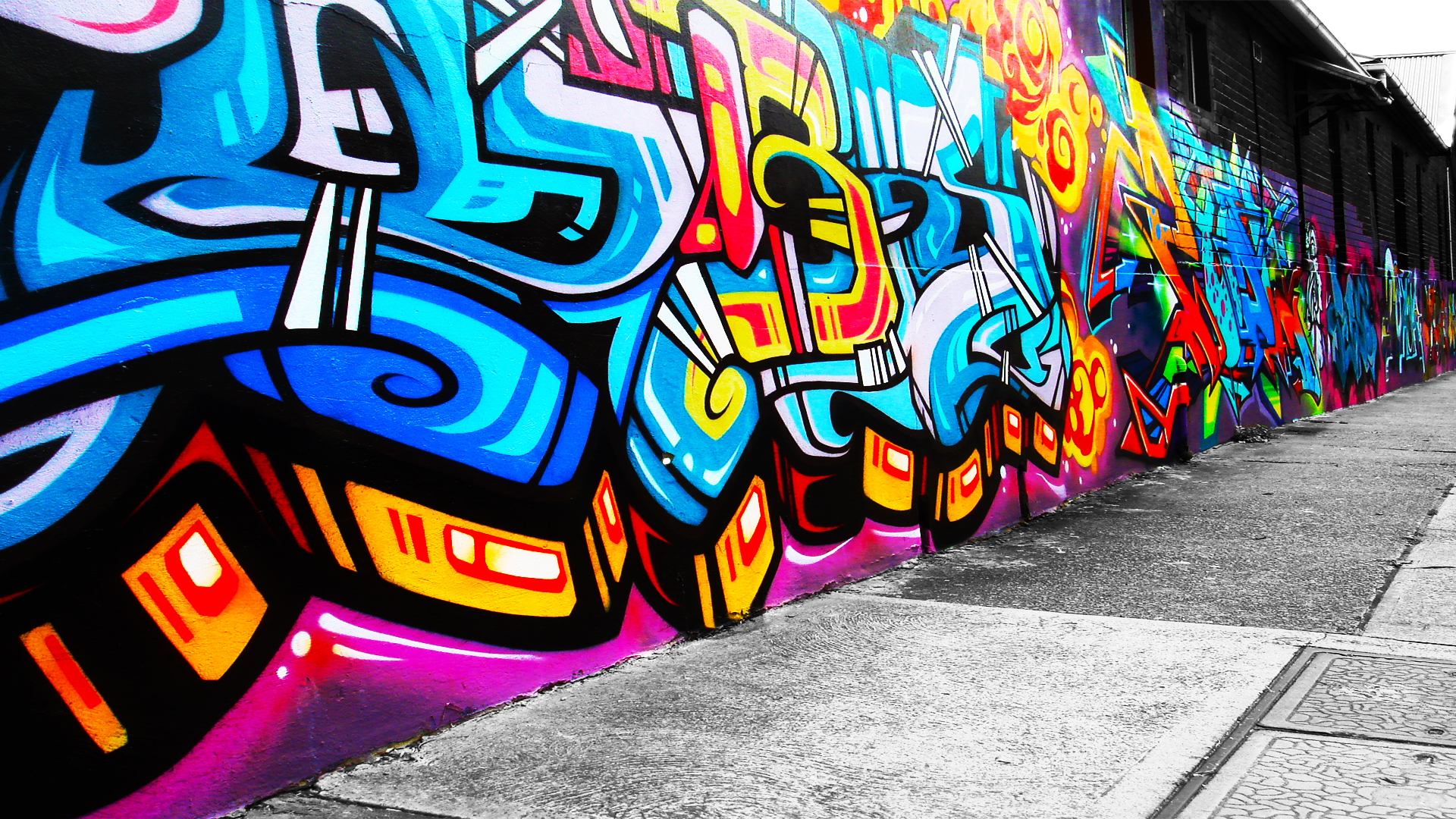 urban art graffiti paint color psychedelic wall wallpaper background 1920x1080