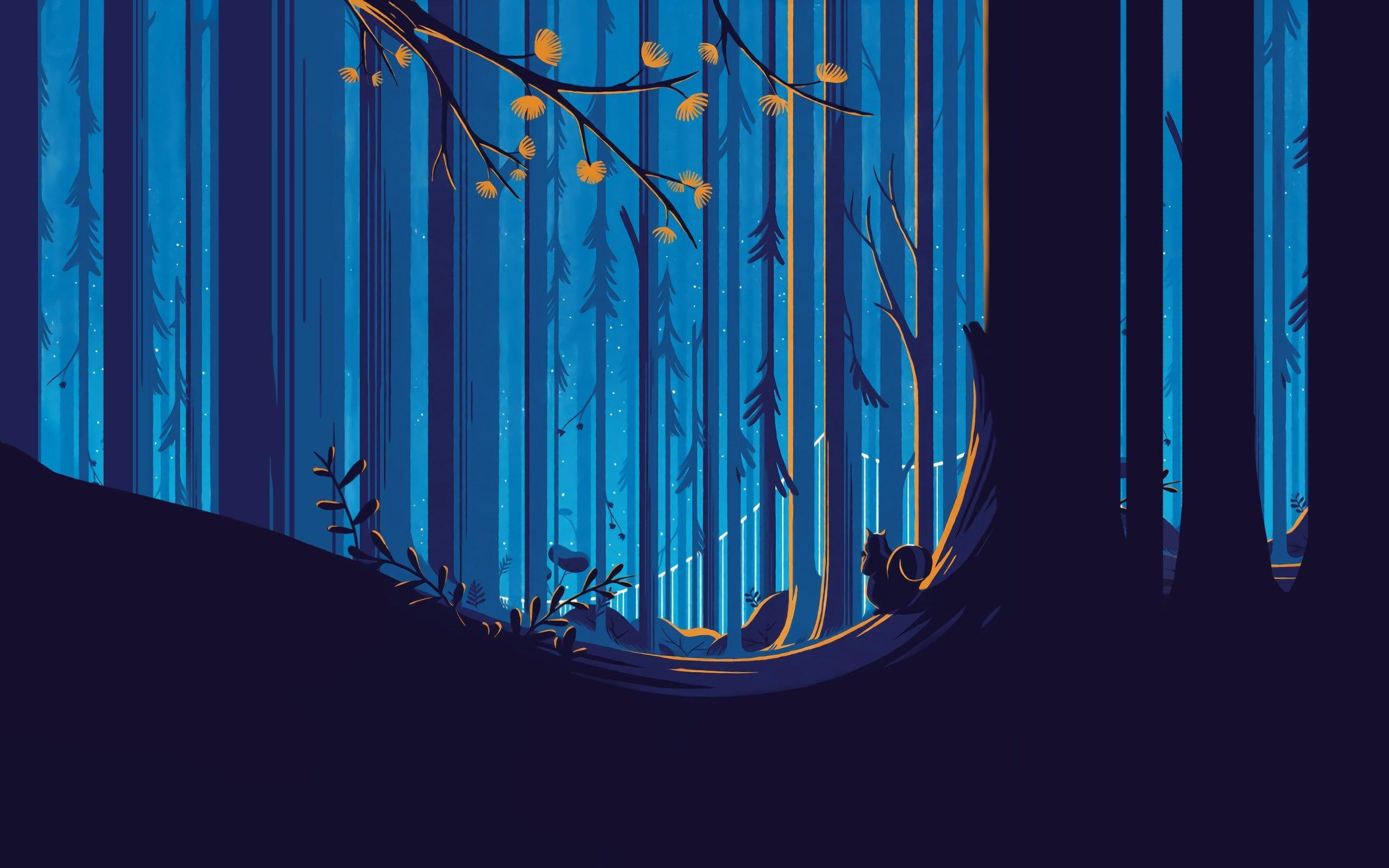 forest illustration Sky blue squirrel Tom Haugomat Trees yellow 2560x1600