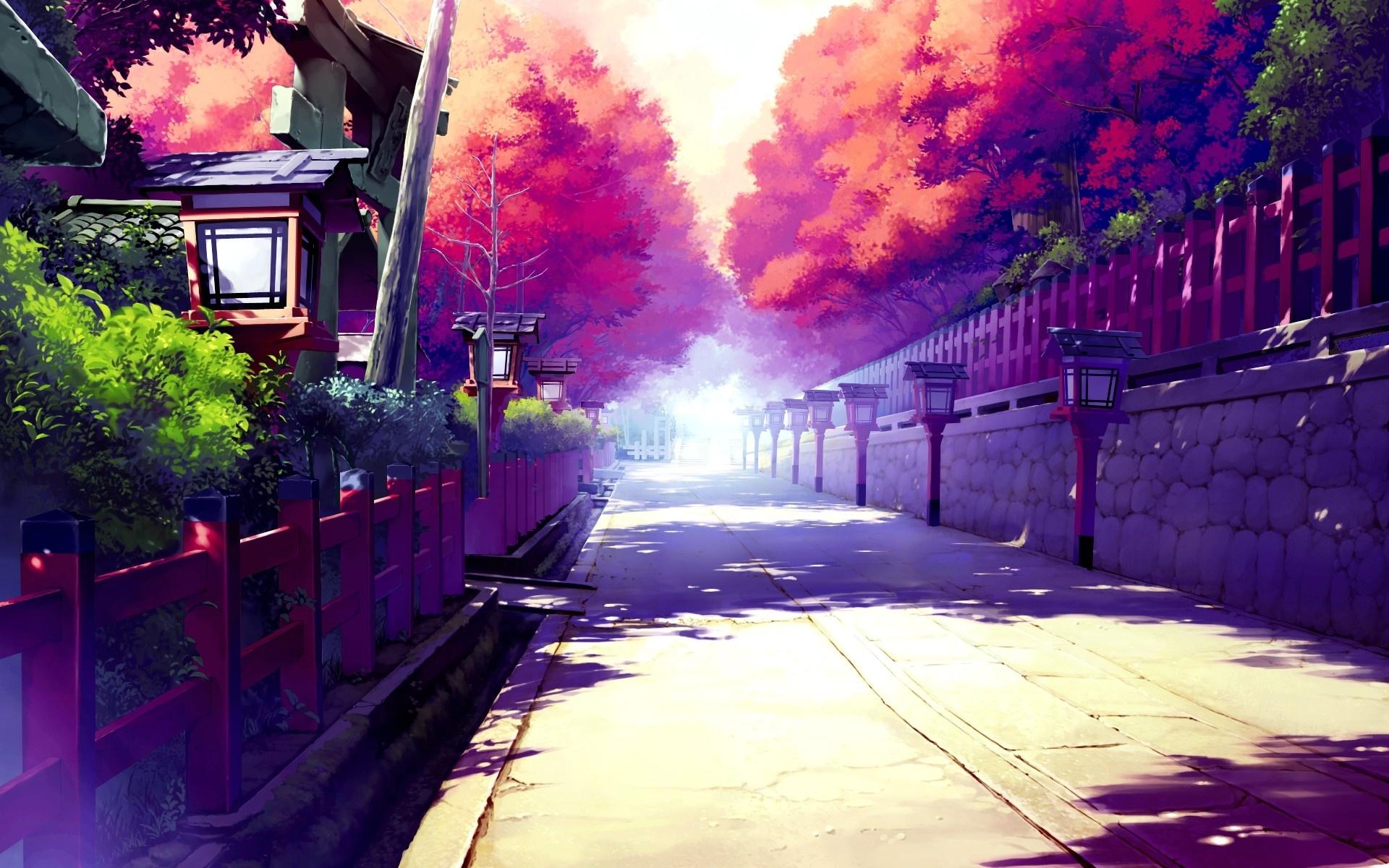 Free HD & 3D Wallpapers: Japanese Anime Street HD Wallpaper Image