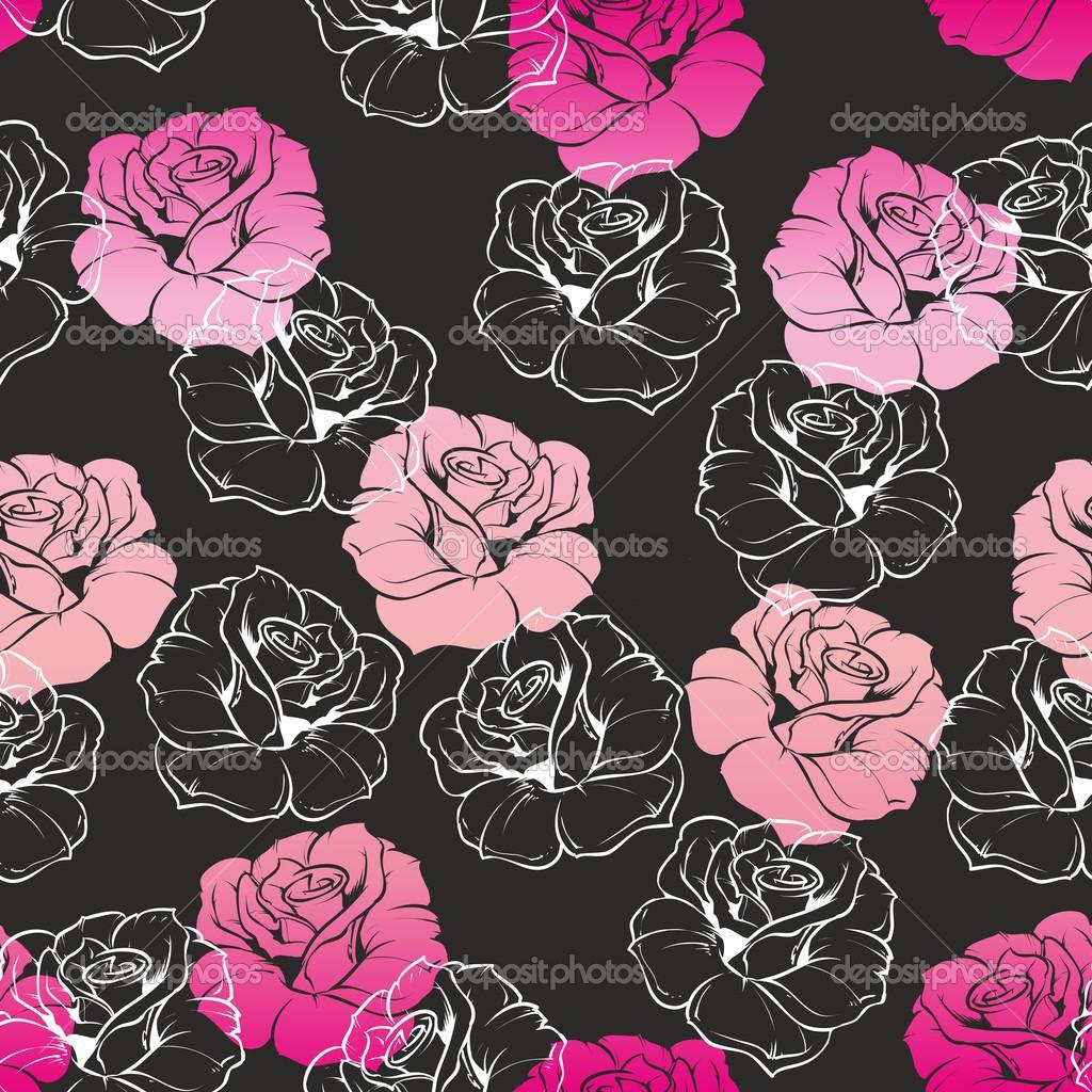 Wallpaper Black Pink: Pink And Black Rose Wallpaper