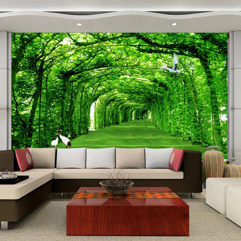 Custom Mural Wallpaper Green Trees Road TV Sofa Backdrop Photo 800x800