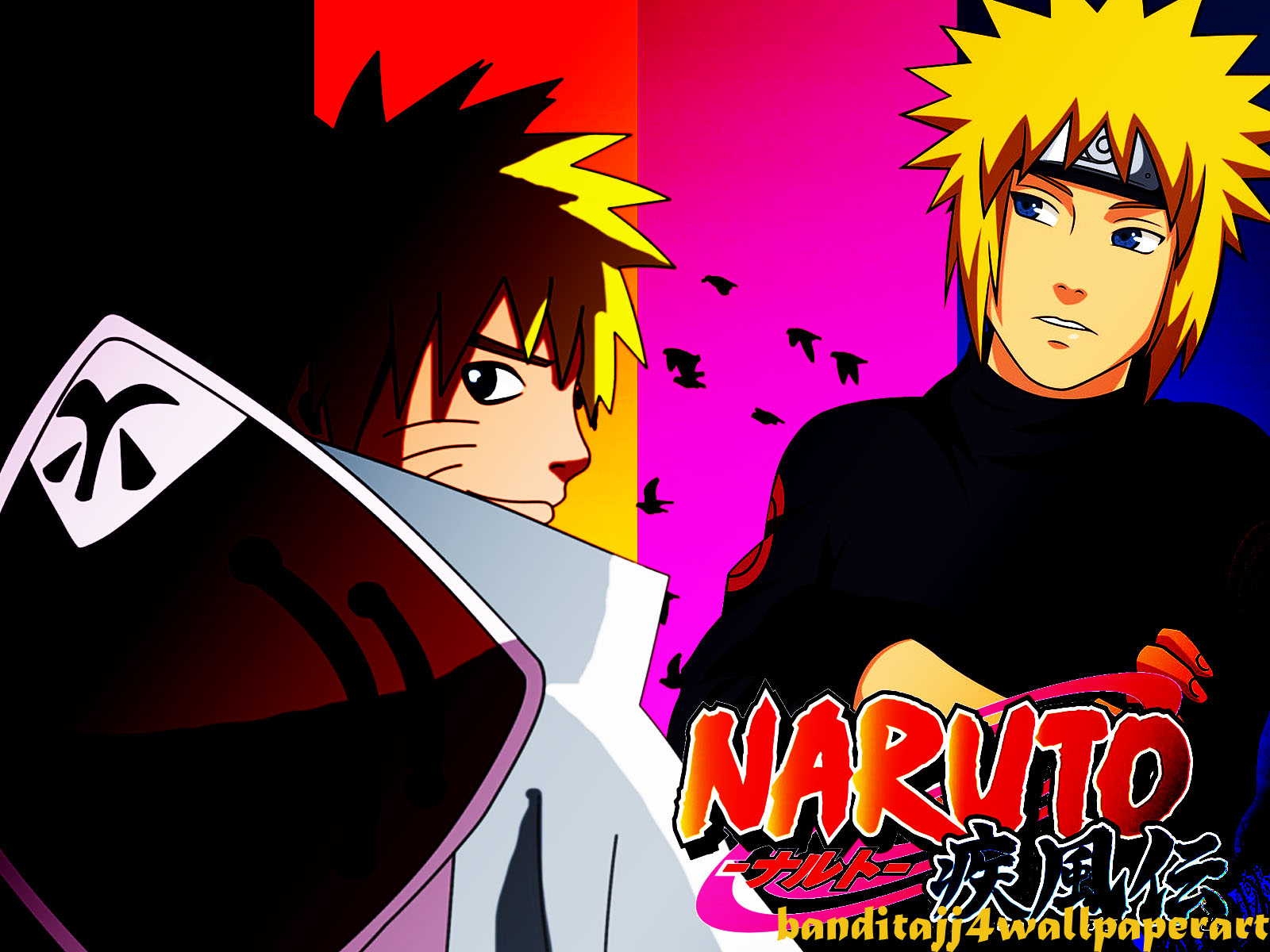 Free Download Naruto And 4th Hokage In Silouette By