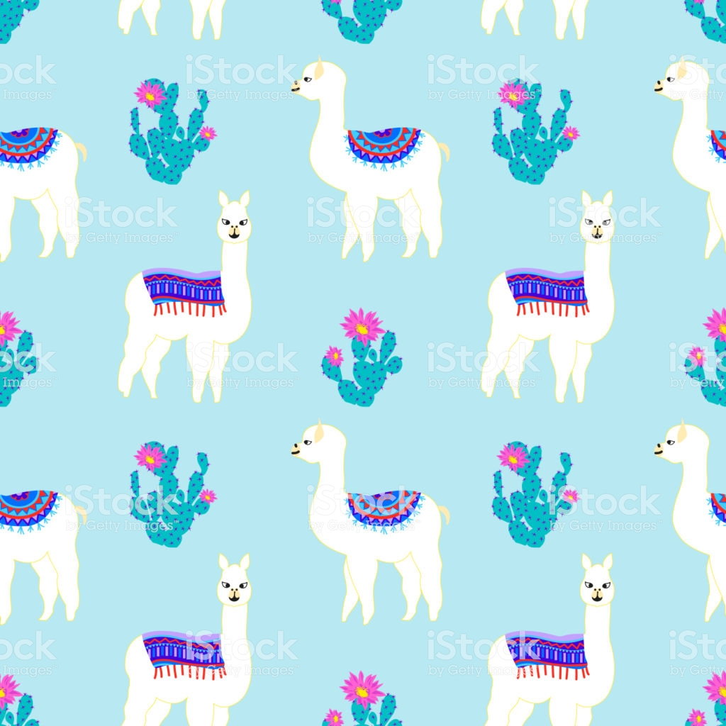 Seamless Pattern With Cute Llama Castus And Flower Vector Abstract 1024x1024