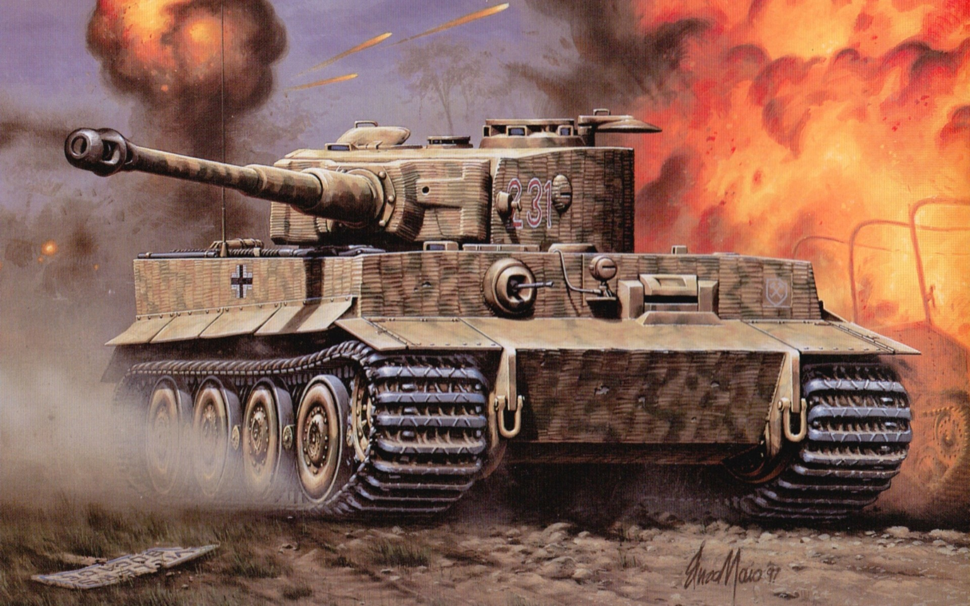 Tank tiger fire war battle vehicles wallpaper   ForWallpapercom 1920x1200