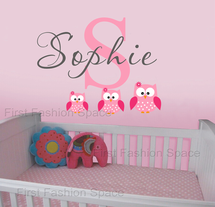 Owls Wall Decals Personalized Name Vinyl Wall Art Sticker Wallpaper 750x725
