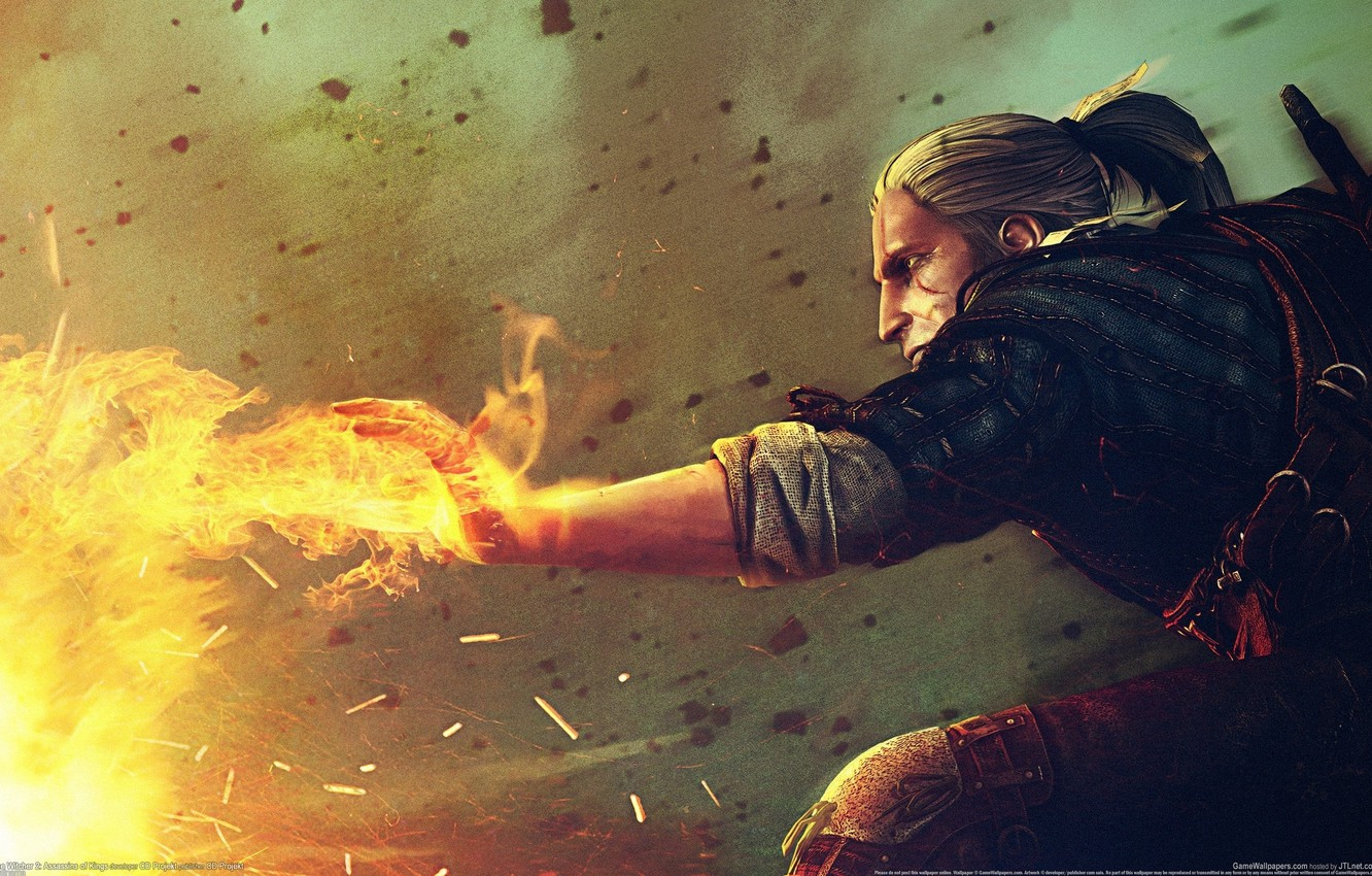 Wallpaper magic game wallpapers witcher 2 Geralt the Witcher 1332x850