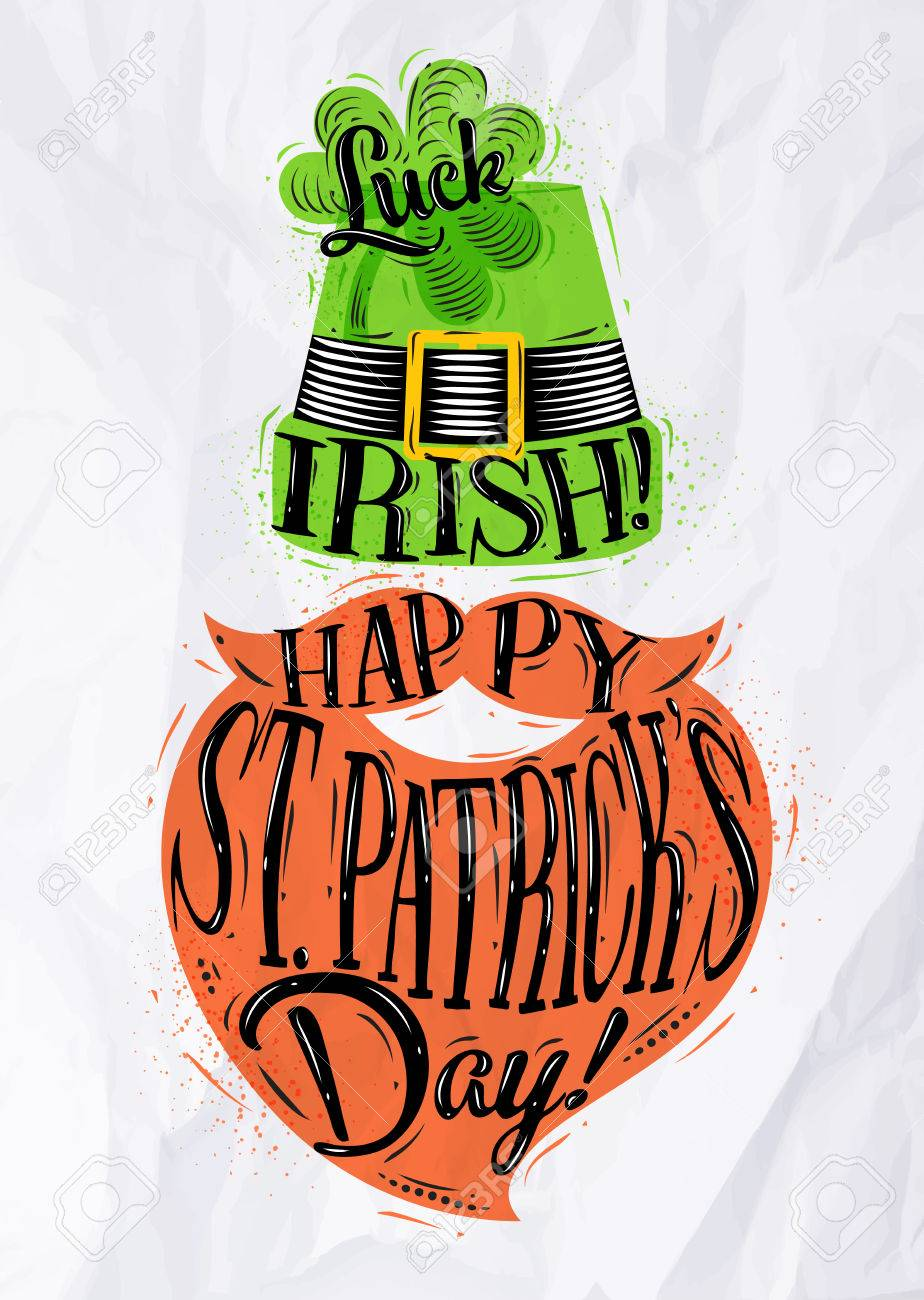 Poster St Patrick Hat And Beard Lettering Luck Irish Happy St 924x1300