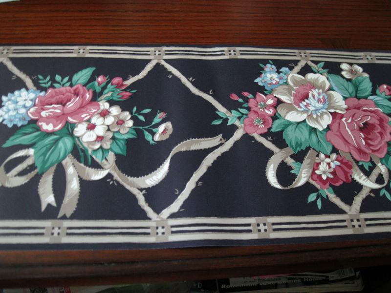 Roses Bouqet Ribbons Navy Blue WAVERLY WALLPAPER BORDER 558182 800x600