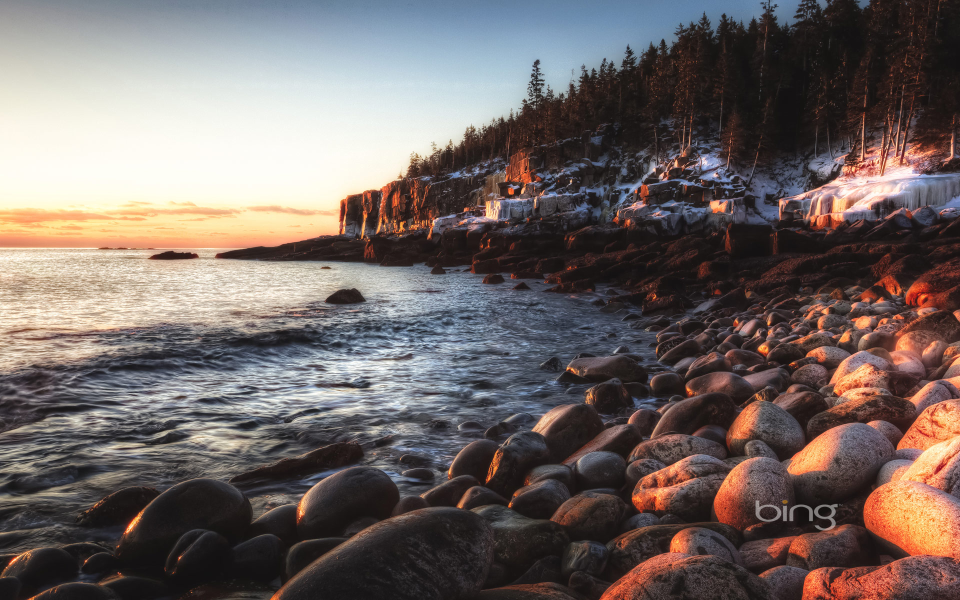 Otter cliffs and sea stones in Acadia National Park Maine HD Bing 1920x1200