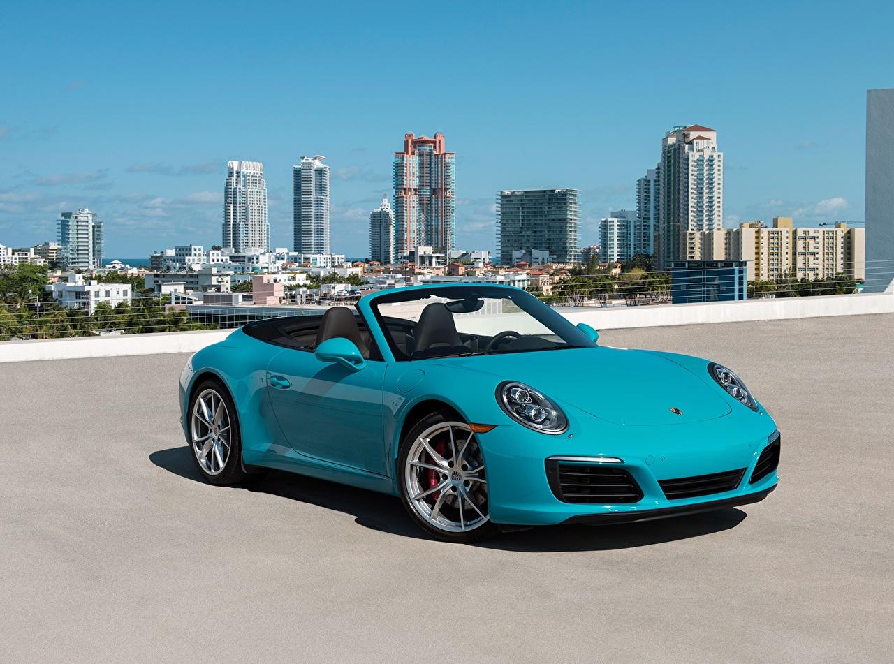 Wallpapers Porsche 911 Carrera S Cabriolet Light Blue auto 1280x951