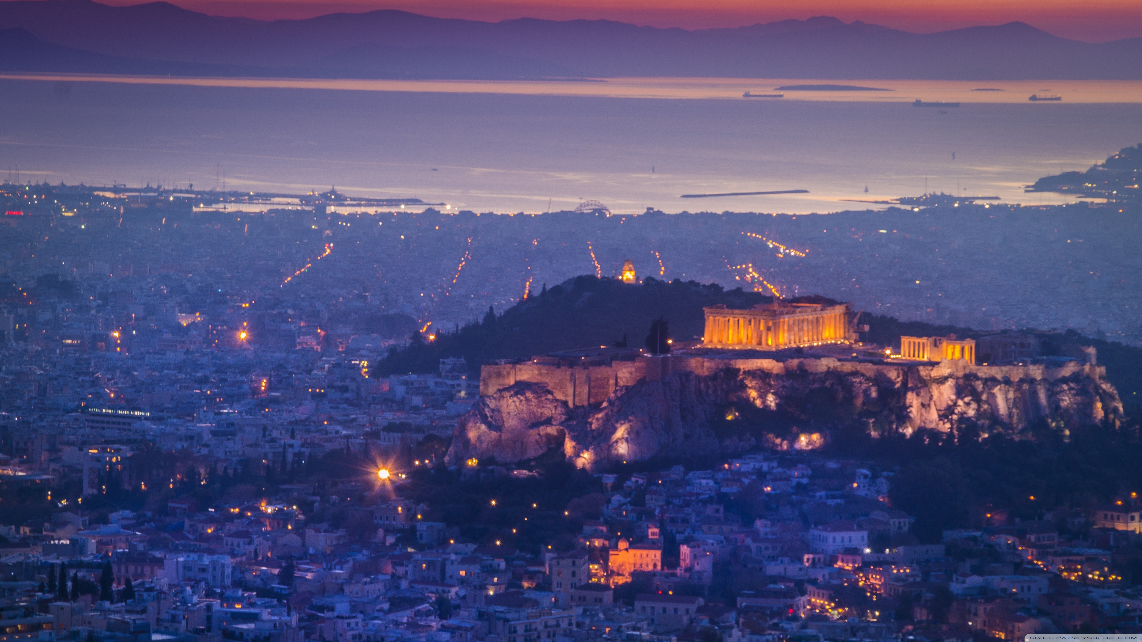 Athens by night 4K HD Desktop Wallpaper for 4K Ultra HD TV 3840x2160