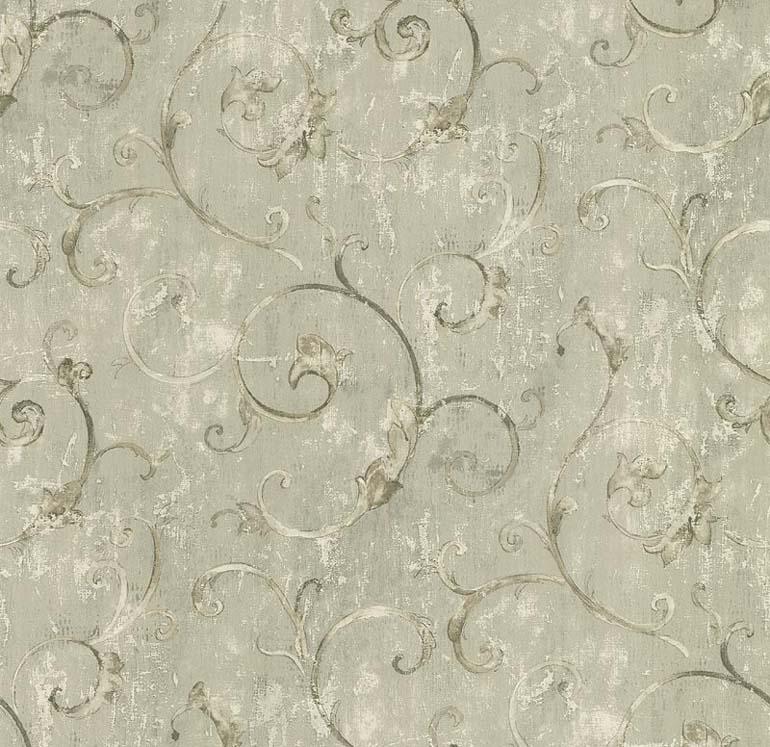 Download Norwall Fresco Textures Elegant Scrolls On Green Wallpaper