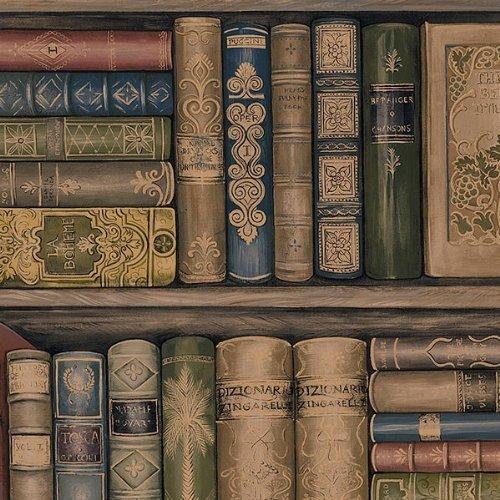 Wallpaper Designer Library Bookshelves Brown Green Red Gold Black 500x500