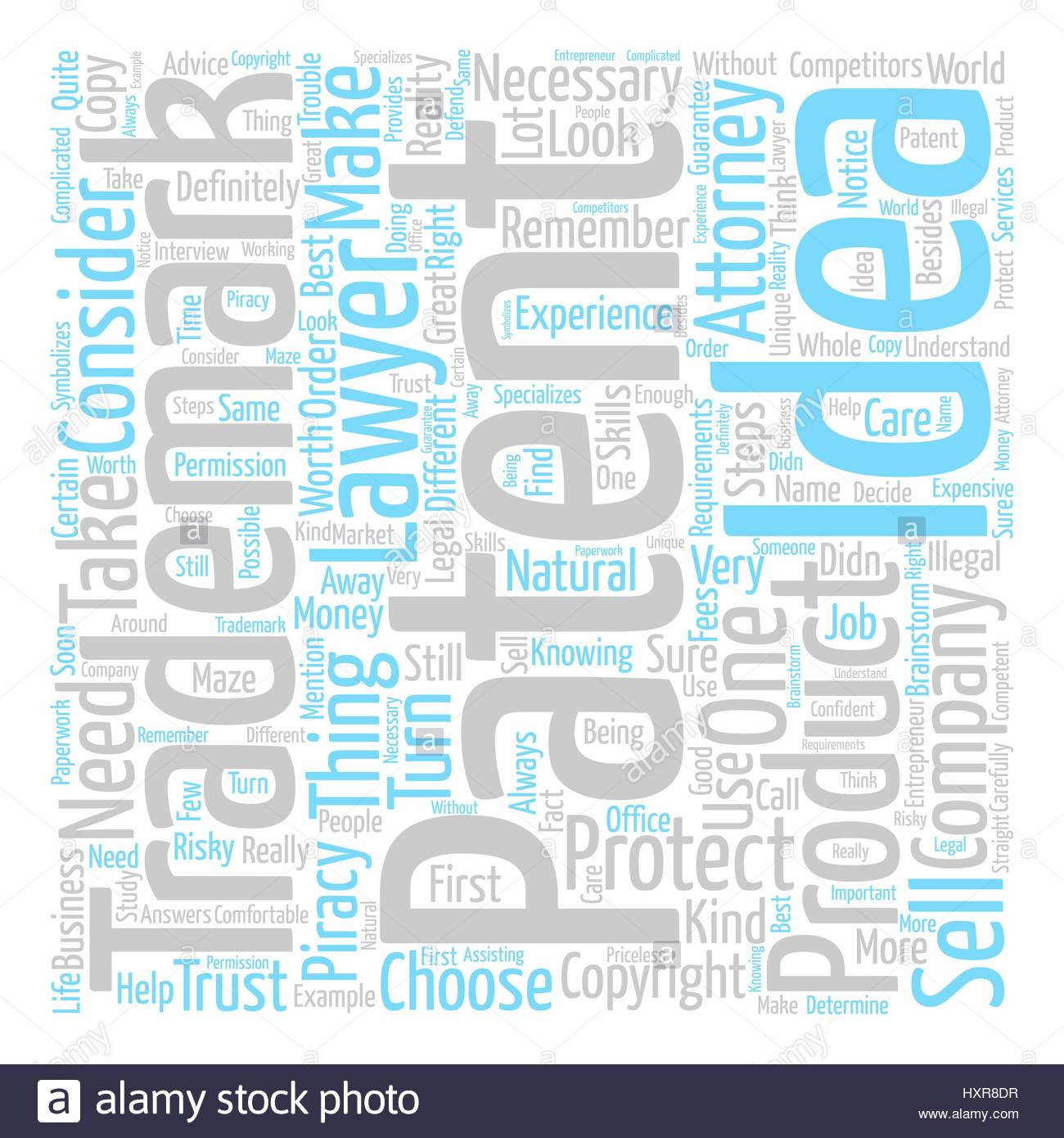 attorney trademark patent text background word cloud concept Stock 1300x1390