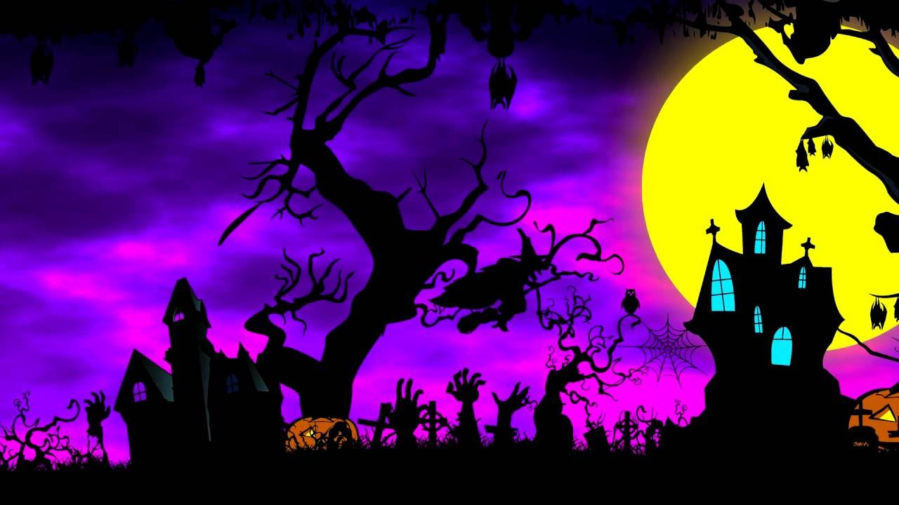 4K Cartoon Halloween Background Animation Royalty UHD 1280x720