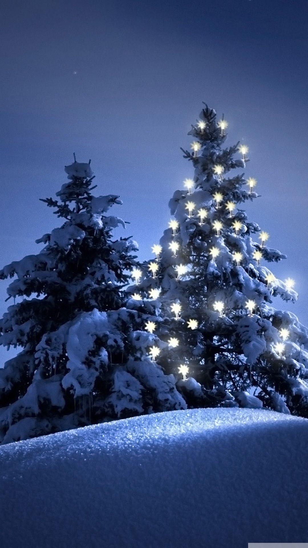 Snow christmas tree winter iPhone 6 wallpaper 1080x1920