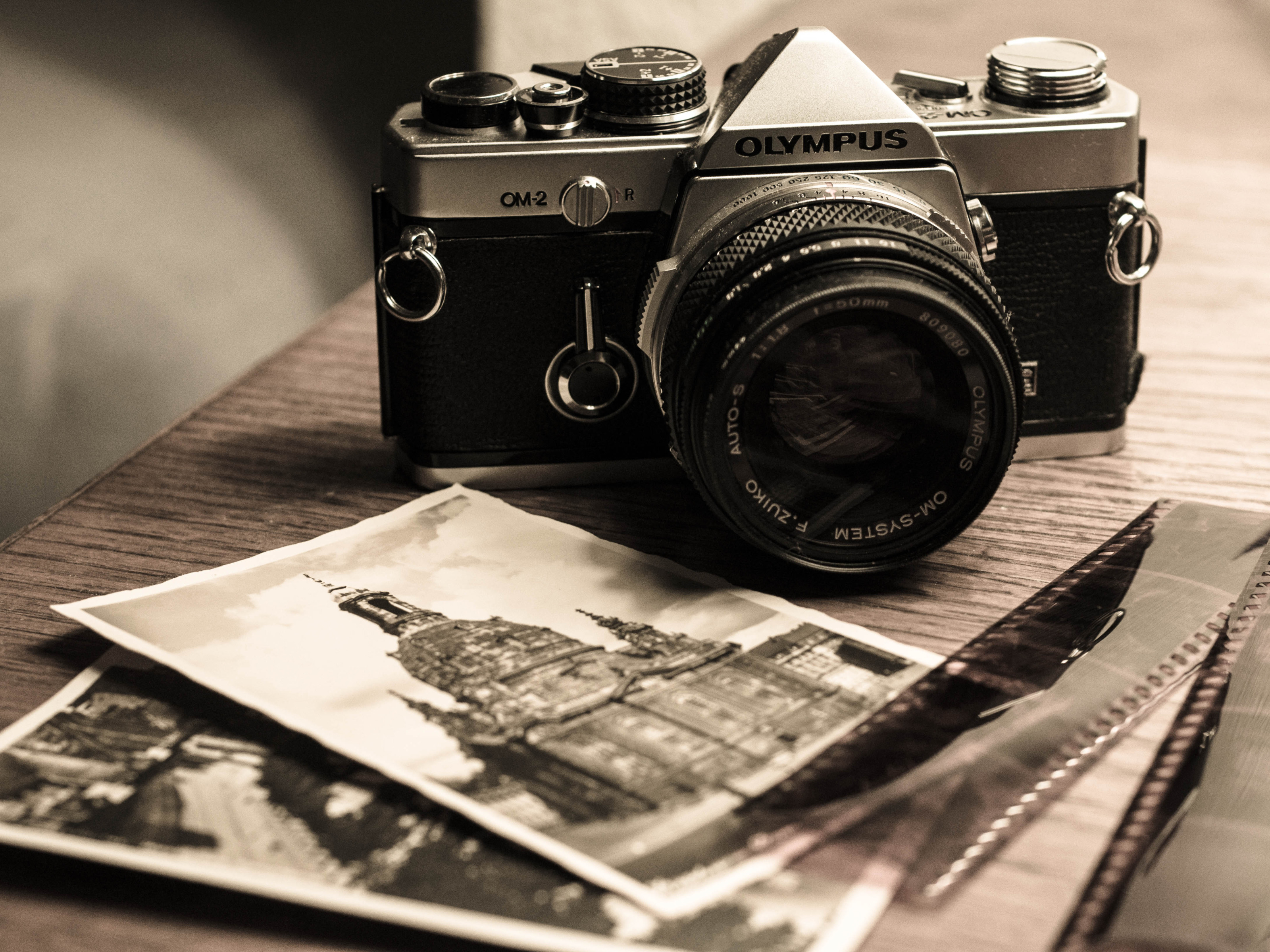 Vintage Olympus OM 2 Camera and Photographs widescreen wallpaper 3200x2400
