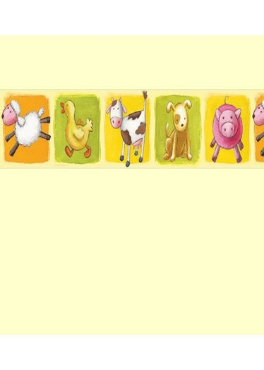 Farm Animals Wallpaper Border with Sheep Ducks pigs and cows 374x524