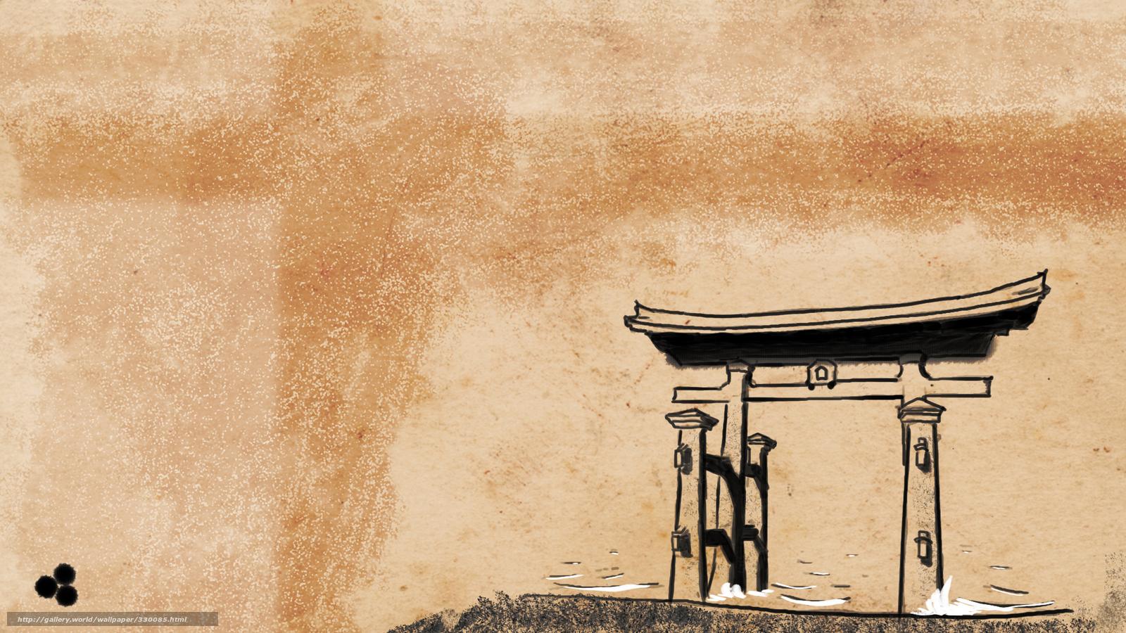 Download wallpaper trajectory Shintoism Japan Japanese style 1600x900