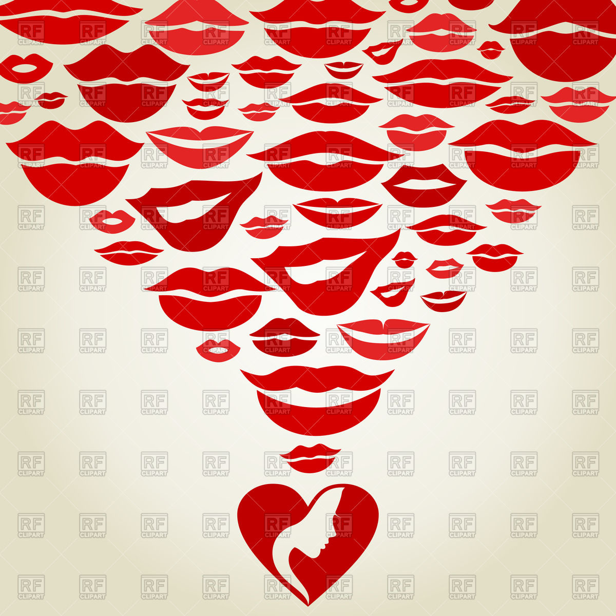Love background with heart and kisses Vector Image of Backgrounds 1200x1200