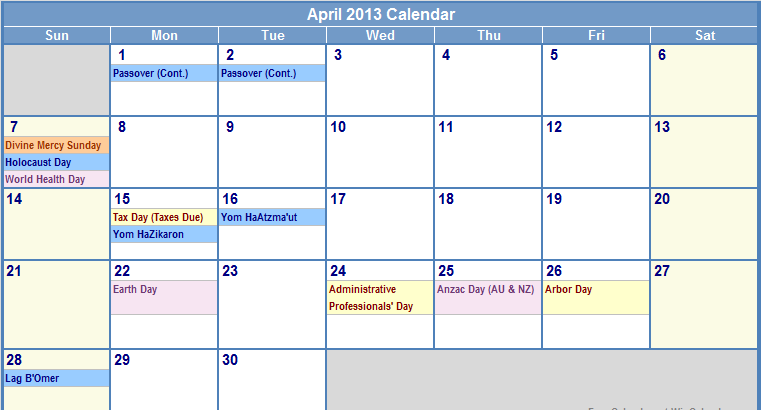 2013 April Monthly Calendar HD Wallpapers   How to Guide 761x410