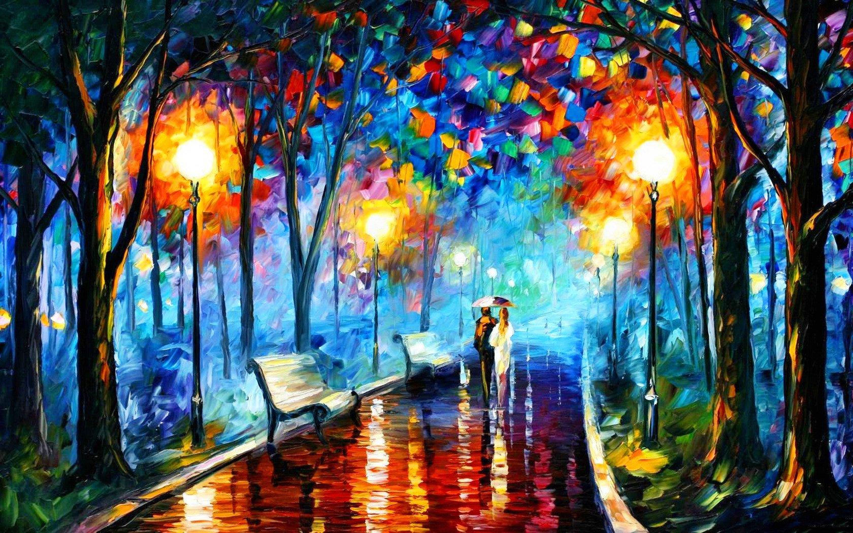 wallpaper vincent van gogh santa lighs night umbrella 1680x1050