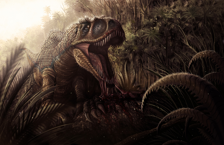 Jungle dinosaur jaws teeth blood dark fantasy wallpaper 3000x1941 3000x1941