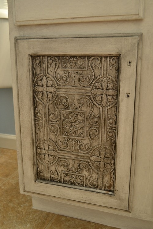 How to reface a cabinet door with tin tile wallpaper 500x751