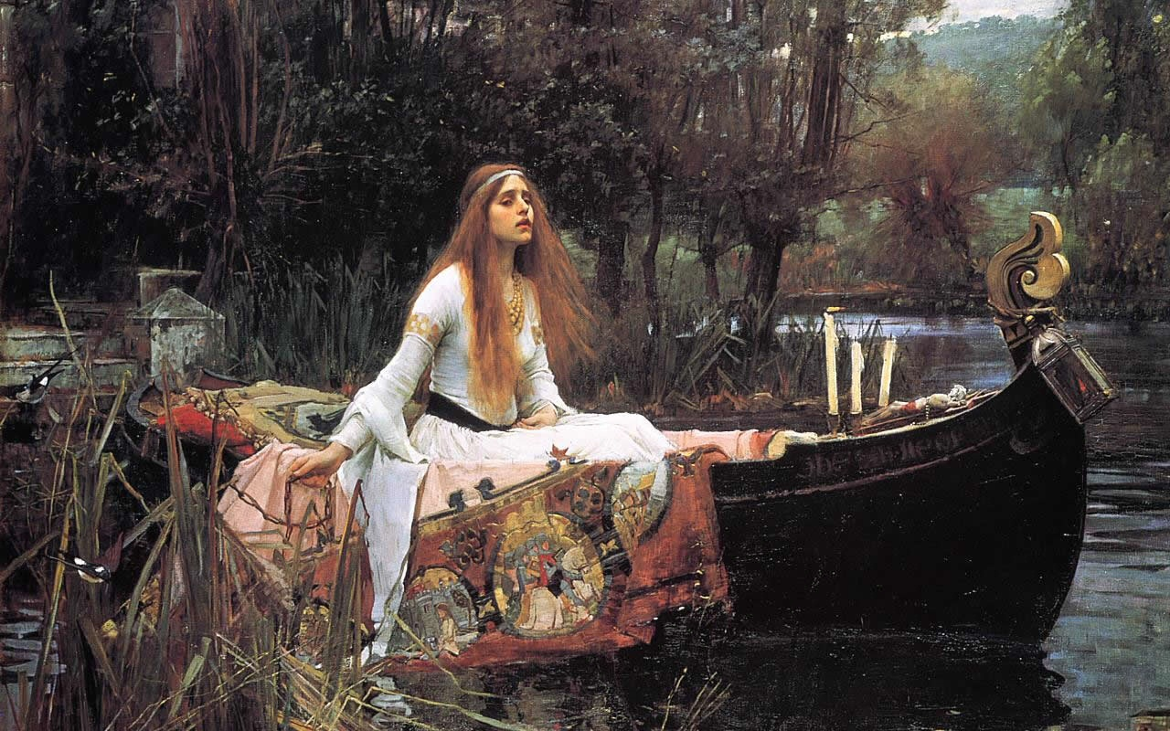 The Lady Of Shallot Painting Wallpaper Art Print Poster Waterhouse 1280x800