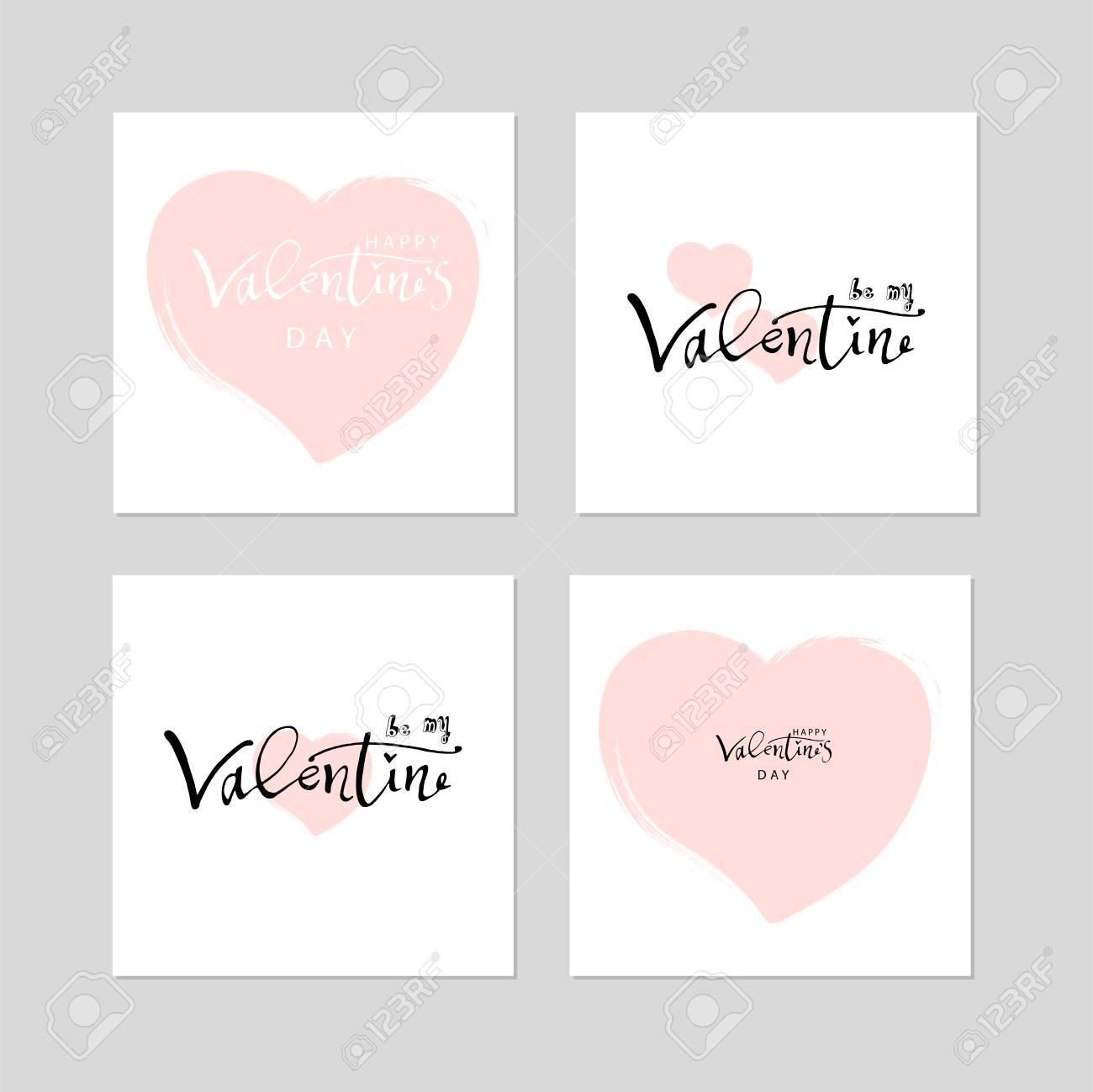 Romantic Collection Of Cute Hand Drawn Abstract Valentines Day 1300x1299