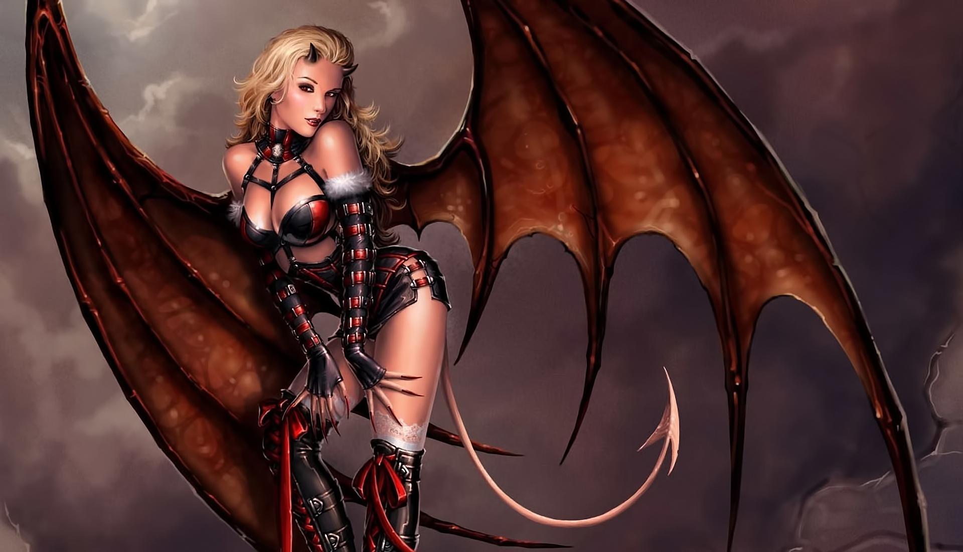 art girl demon demoness demon wings tail horns eyes posturejpg 1920x1100