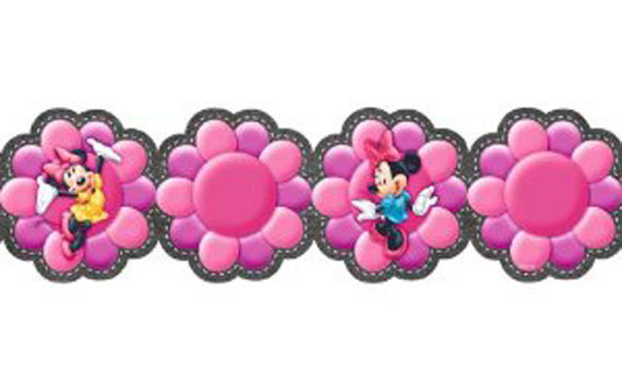 Wallpaper Border   Disney Minnie Funky Flowers on Black by Imperial 570x355