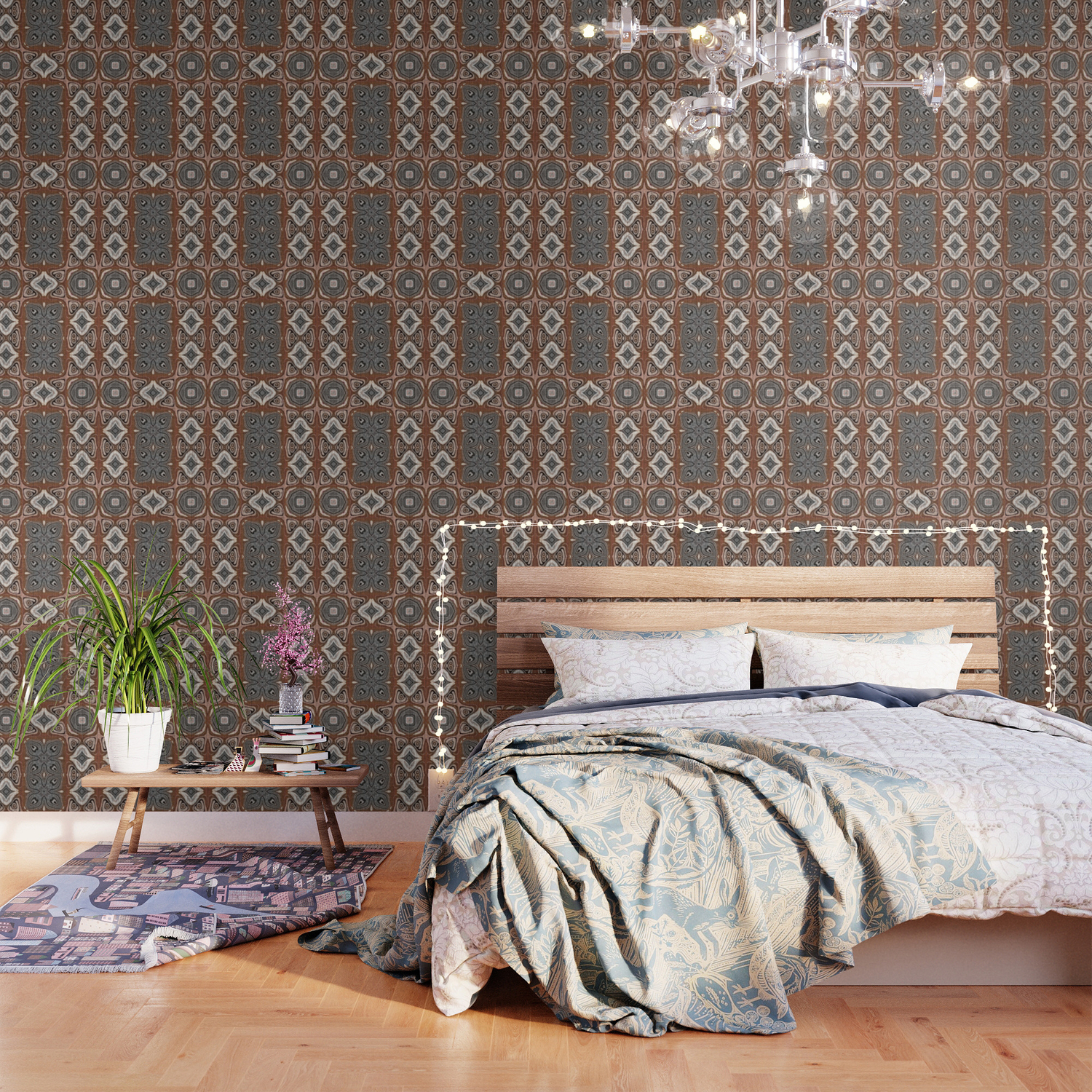 Gray Brown Taupe Beige Tan Black Hip Orient Bali Art Wallpaper by 1500x1500