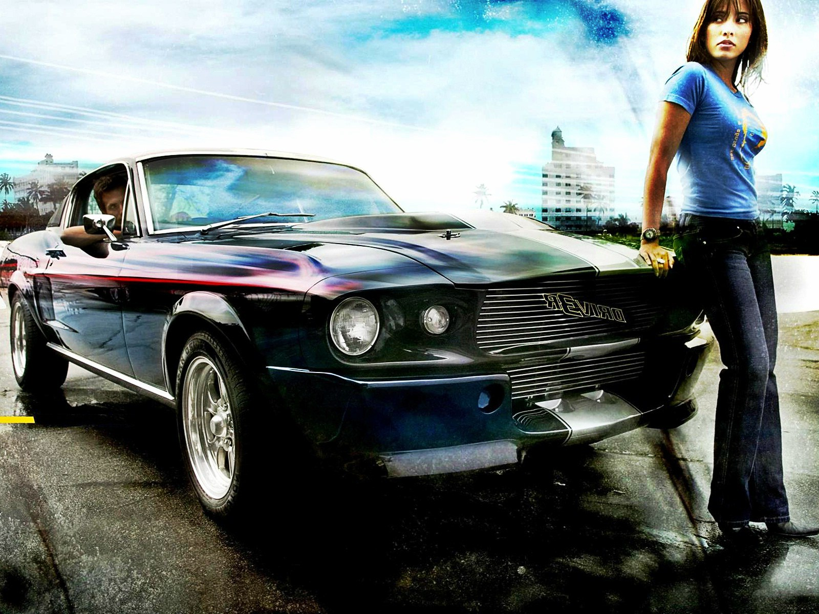 classic car with girl desktop wallpaper for background free