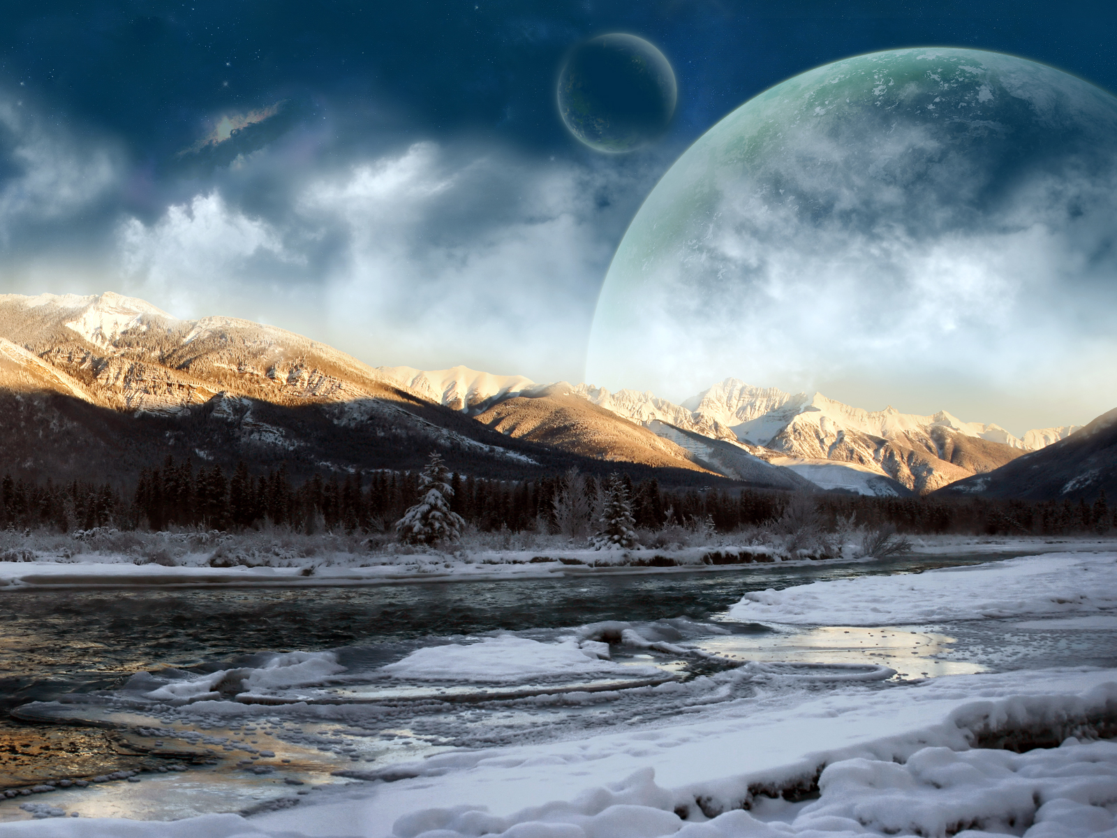 Moon Mountains Laptop Wallpaper Wallpaper Desktop HD 1600x1200