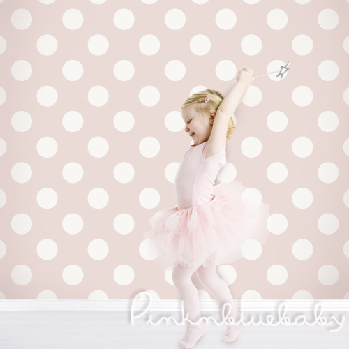 Polka Dot Off White Pink Removable Wallpaper pinknblueBaby 500x500
