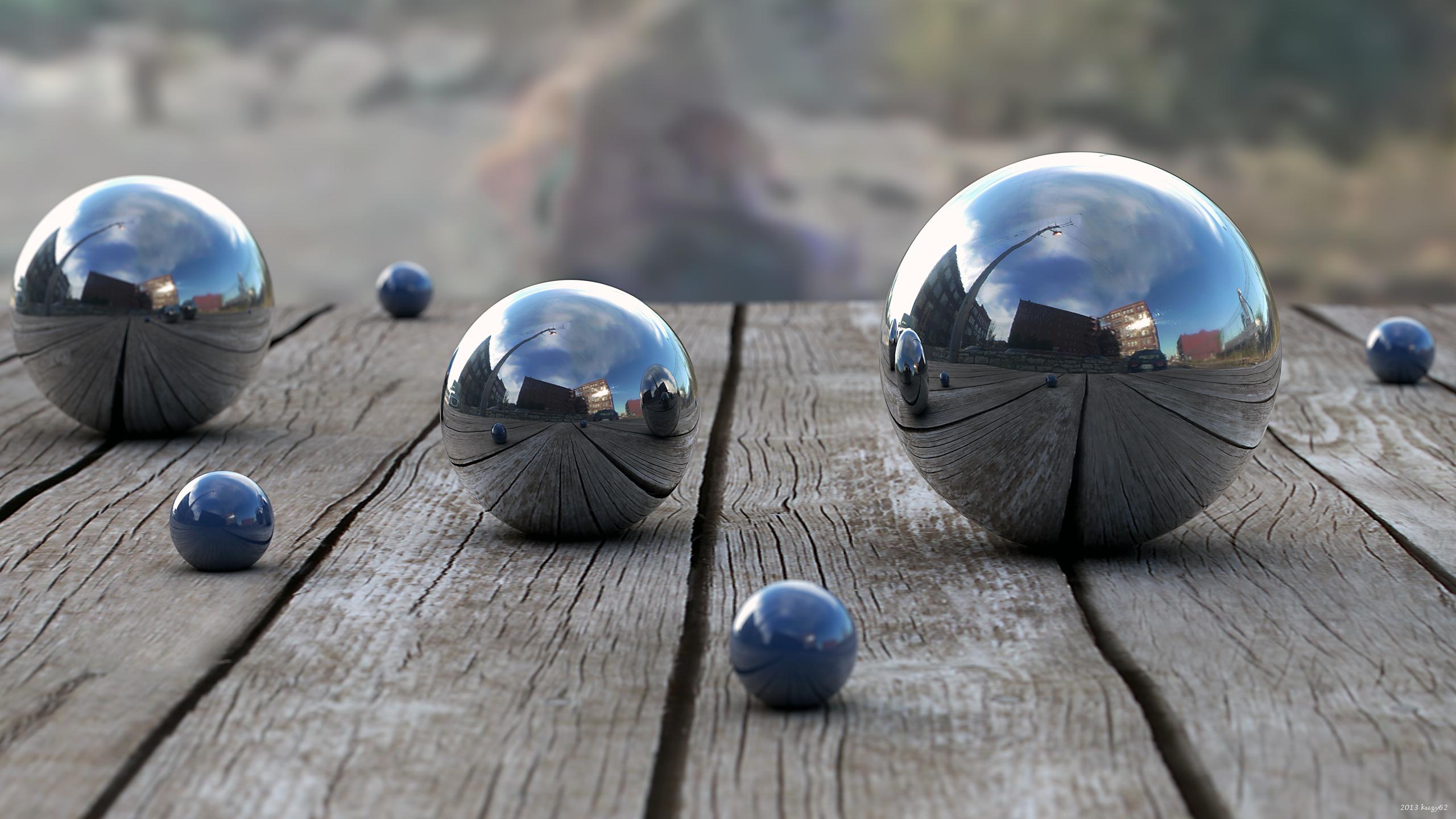 Balls Wood Reflection depth 3d bokeh wallpaper 2560x1440 48948 2560x1440
