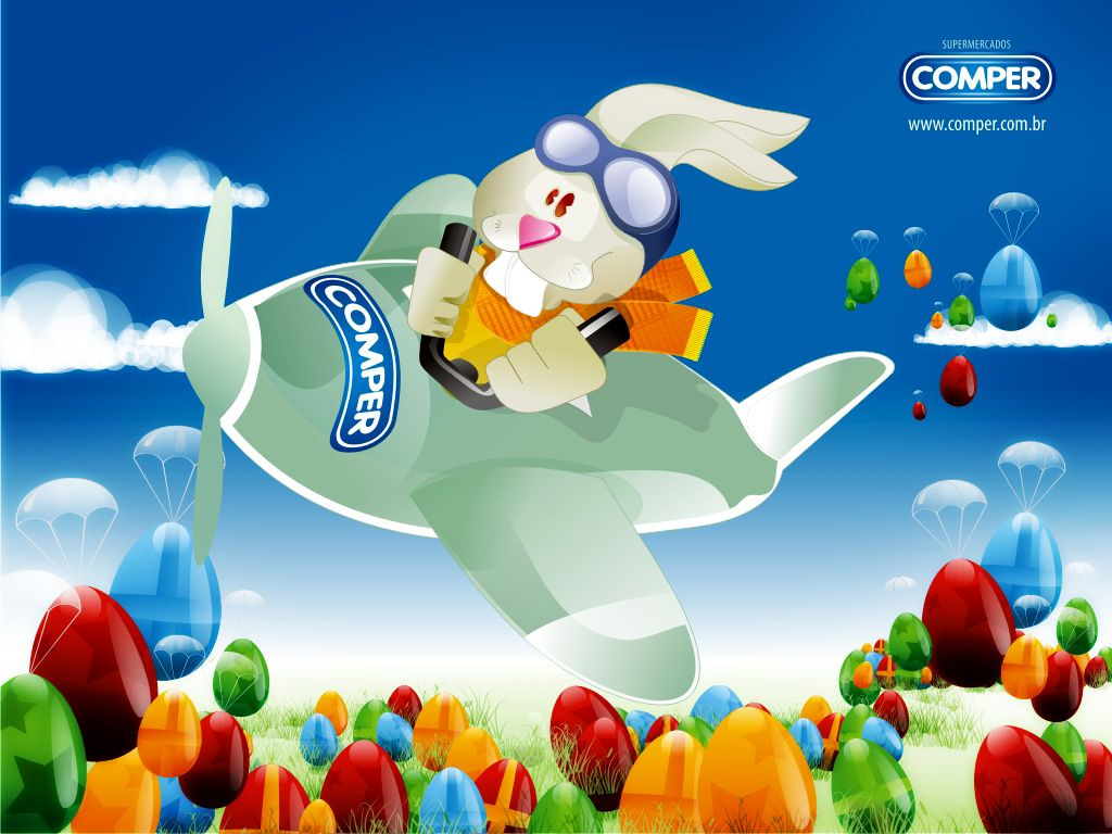 1024x768 Flying Easter bunny desktop PC and Mac wallpaper 1024x768