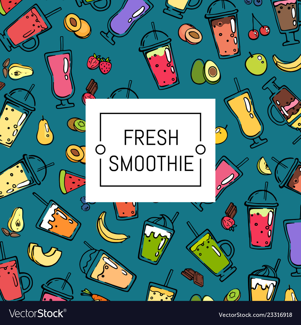 Doodle smoothie background and pattern Royalty Vector 1000x1080