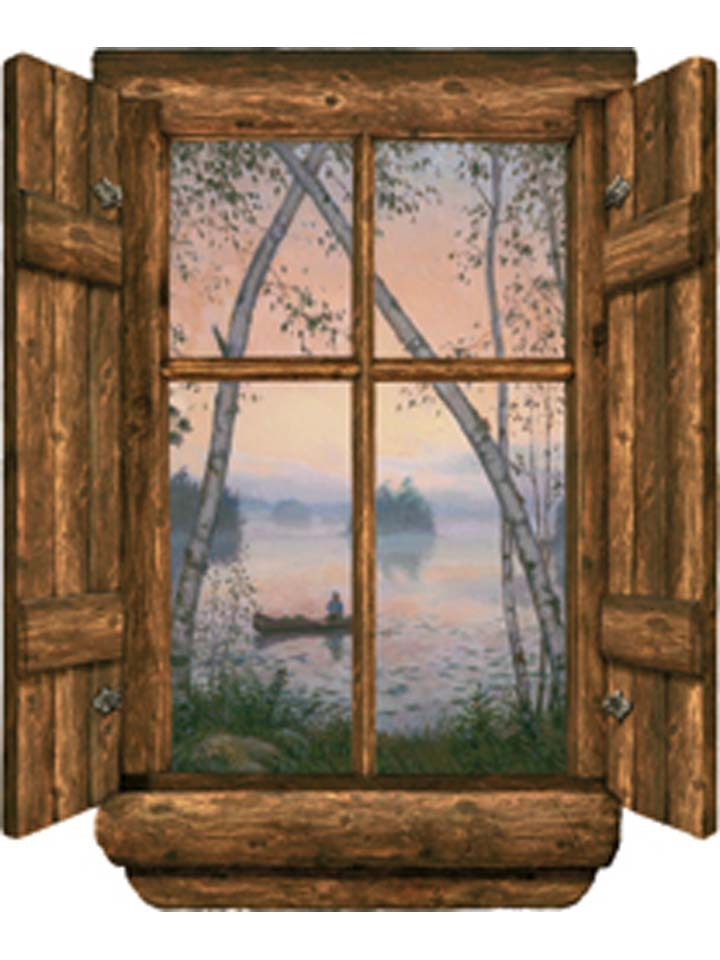 Log Cabin Window Fishermans Dream Wall Mural 720x960
