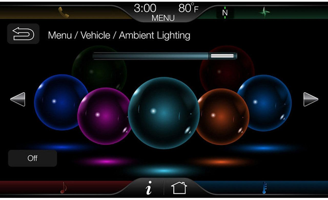 MyFord Touch ambient lighting display 1280x782