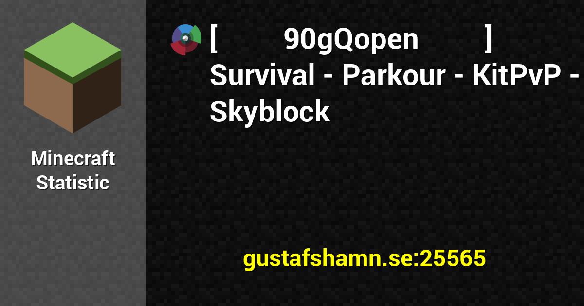 Userbars for [ 90gQopen ] Survival   Parkour   KitPvP   Skyblock 1200x630