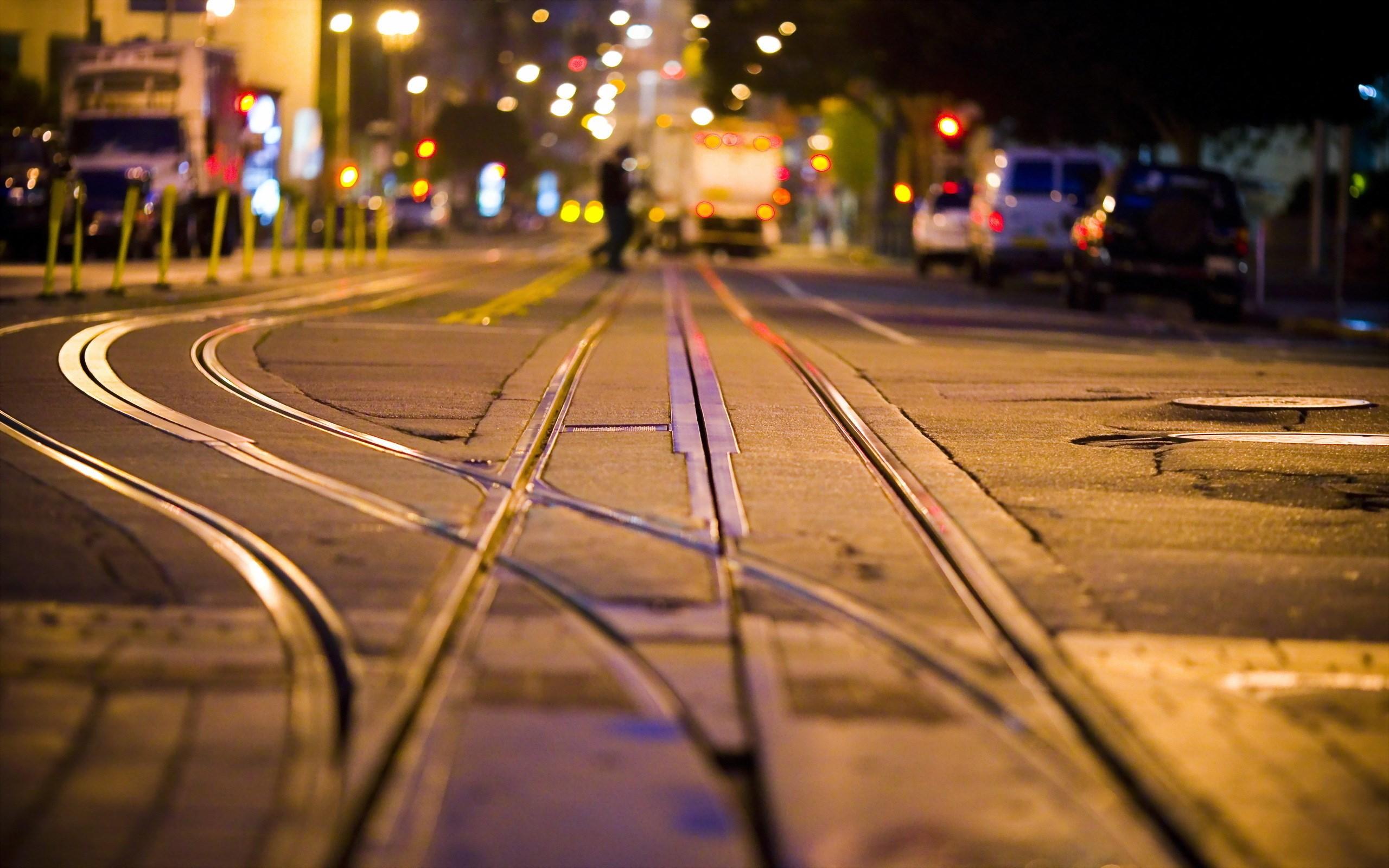 City Street Rails Night Hd Wallpaper Wallpaper List 2560x1600
