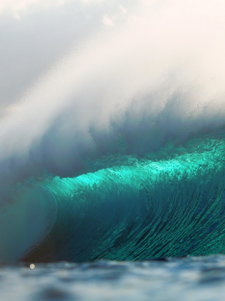 Big Surfing Ocean Waves Hawaii   iPad iPhone HD Wallpaper 768x1024