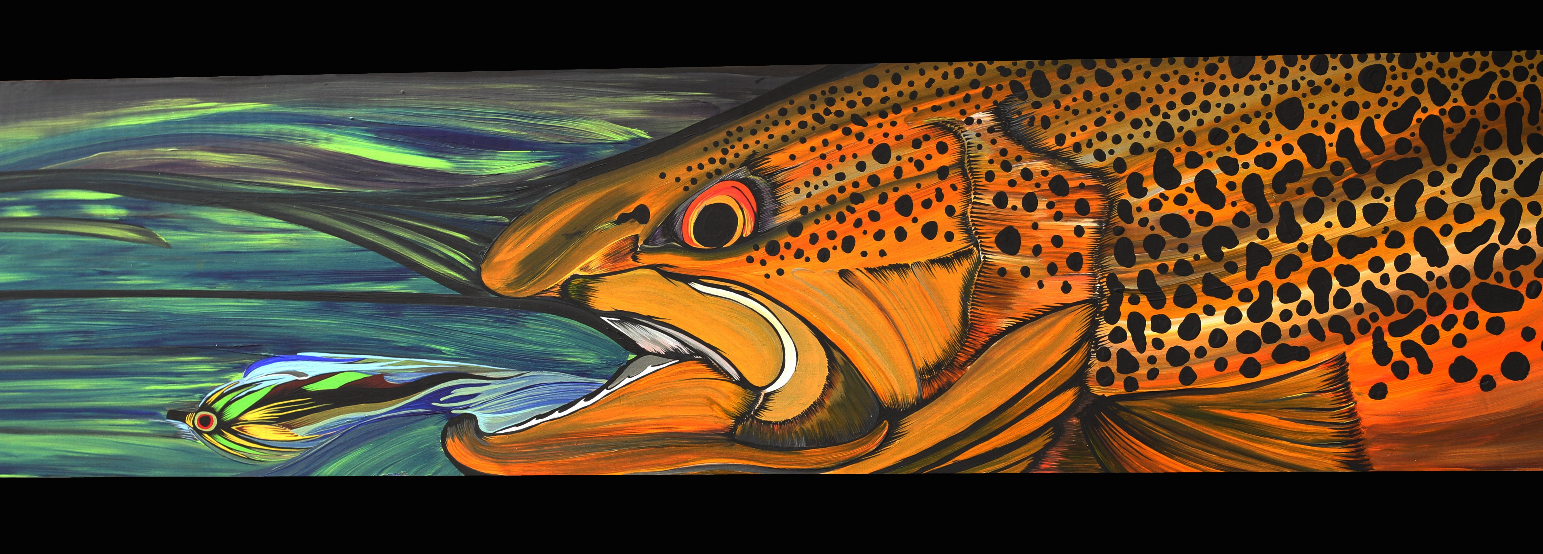 FISHING fish sport fishes bass trout artwork painting wallpaper 5184x1864