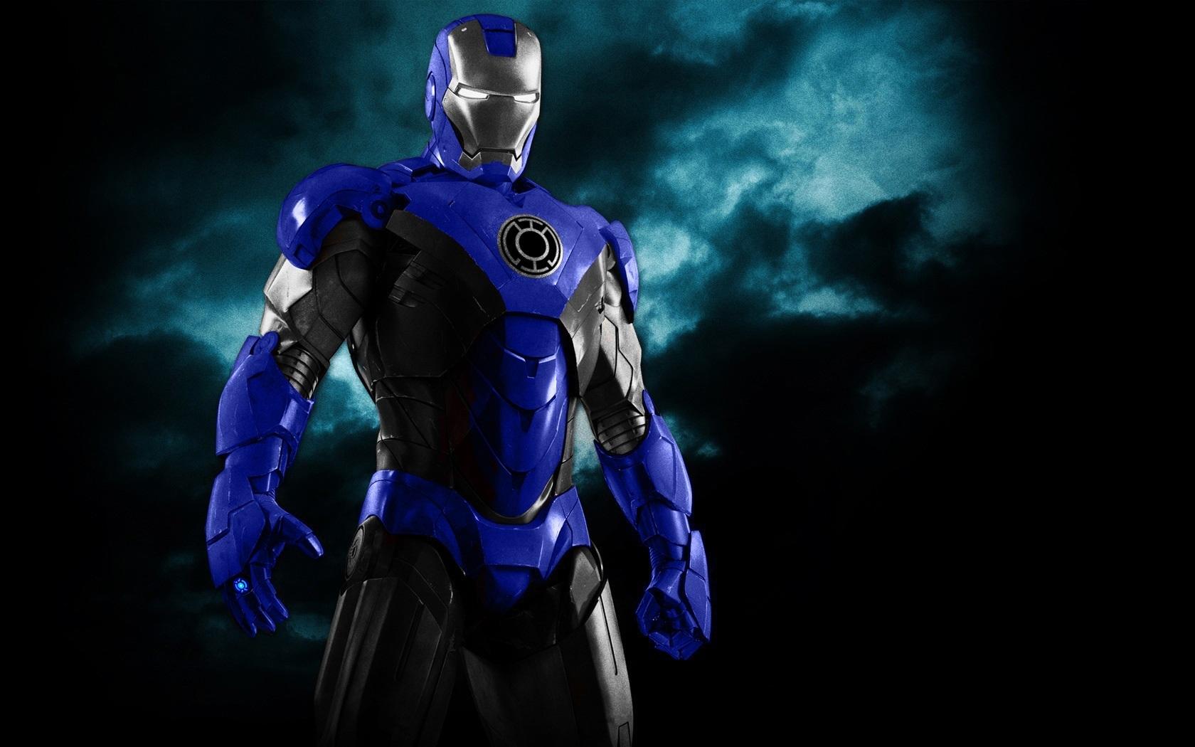 iron man blue lantern armor by 666darks customization wallpaper other 1680x1050