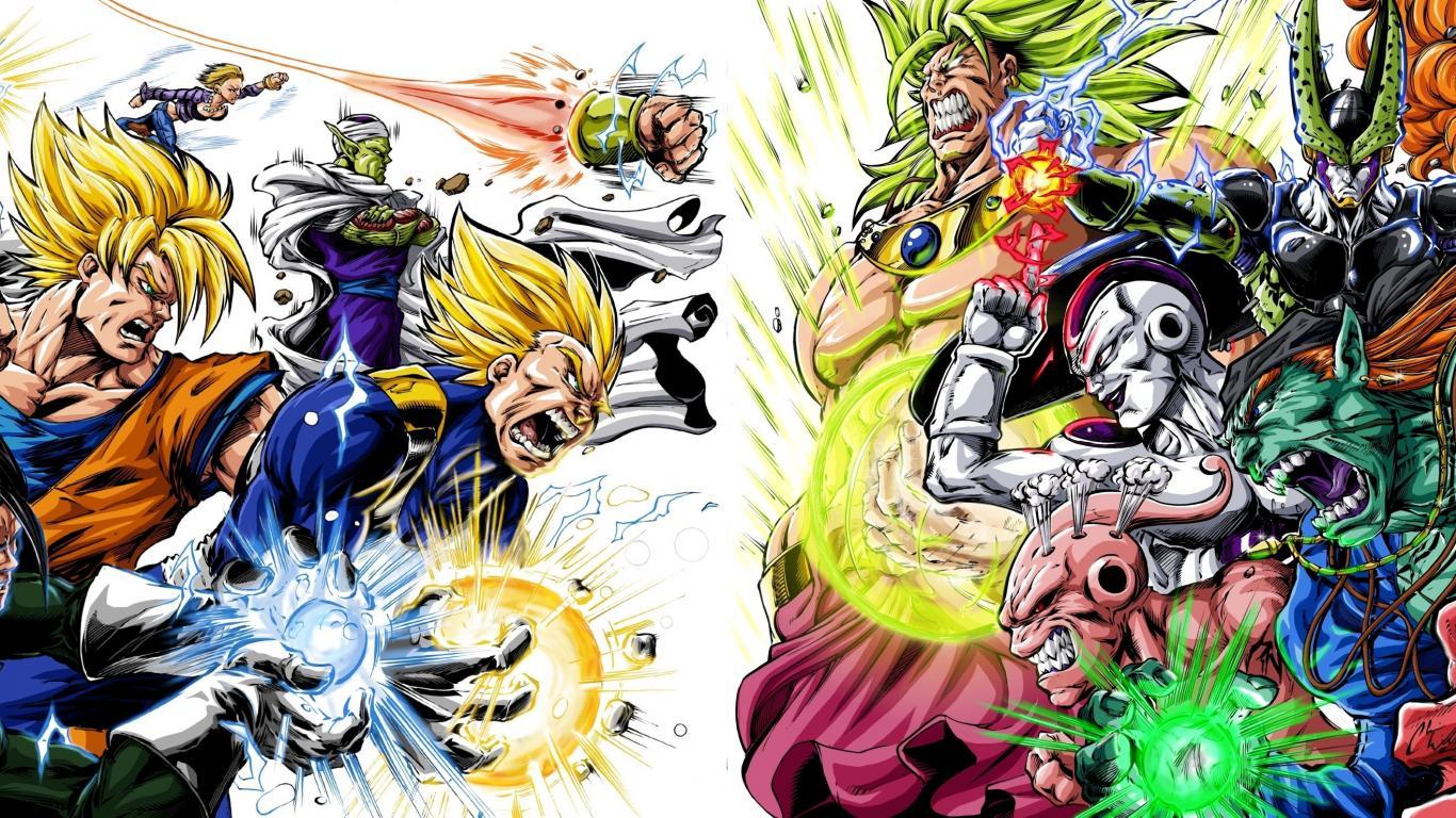 Heroes villains dragon ball z gt wallpaper 30998 1366x768